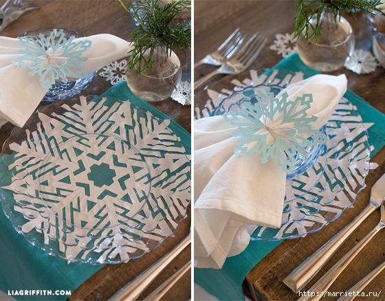 Снежинки из бумаги в новогоднем интерьере (2) (560x438, 259Kb)