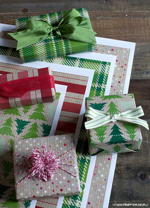 Шаблоны бумаги для упаковки новогодних подарков (3) (505x700, 372Kb)