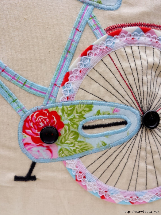 Подушка с аппликацией велосипеда (3) (525x700, 315Kb)