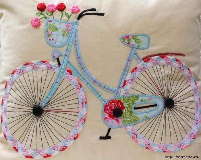 Подушка с аппликацией велосипеда (6) (700x556, 332Kb)
