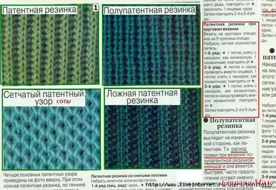 Вязание резинки спицами по кругу схемы
