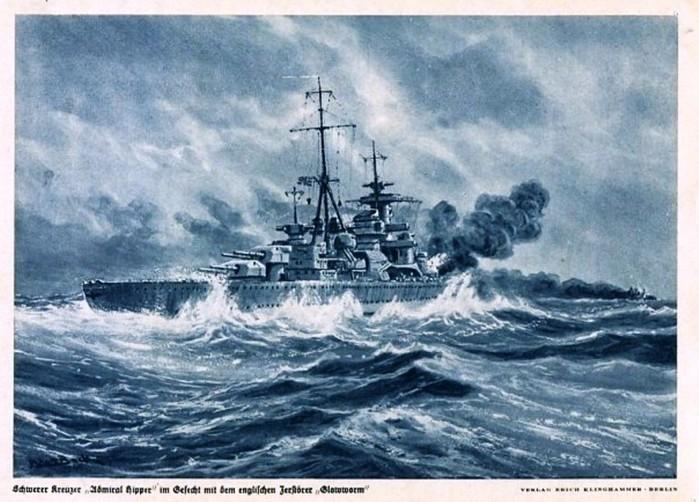 тяж кр Адмирал Хиппер открытка немцев (700x502, 106Kb)