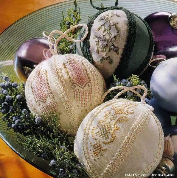 Вышивка. НОВОГОДНИЕ елочные шары и подвески (15) (594x600, 268Kb)