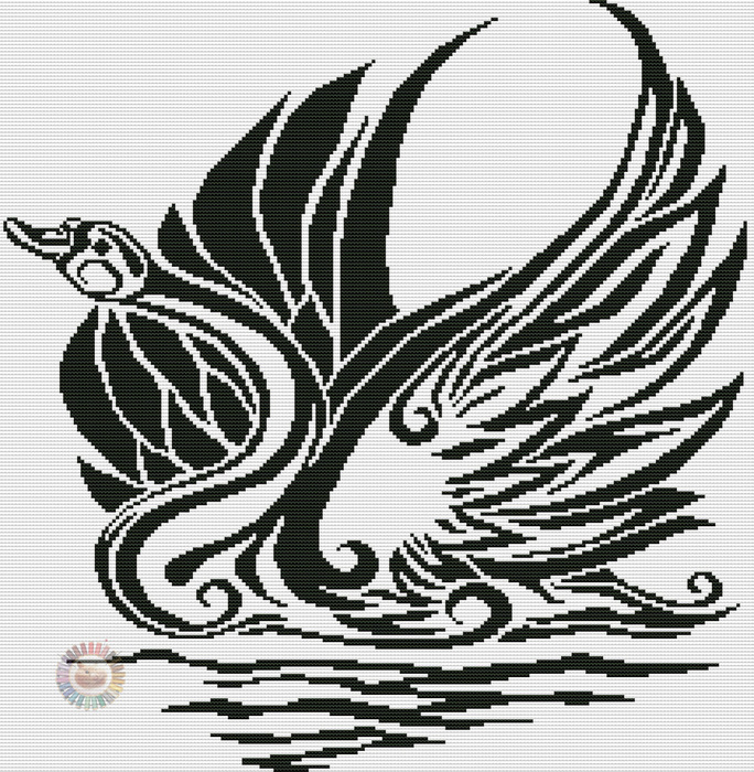 Лебедь графика (684x700, 244Kb)