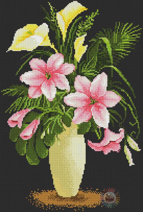 Lilies in vase (472x700, 483Kb)