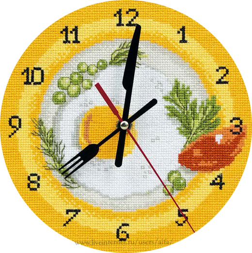 Часы для кухни вышивка схема