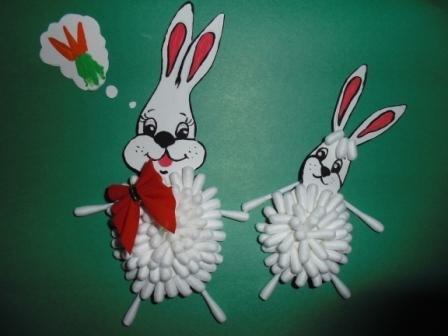 Заяц из ватных палочек своими руками