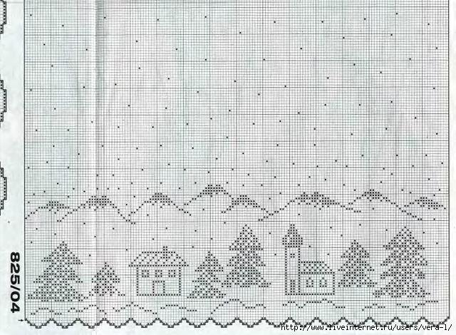 Рождество схемы филейное вязание 12