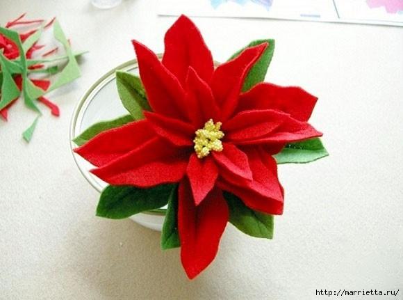 Рождественская ПУАНСЕТТИЯ из фетра (6) (580x431, 128Kb)