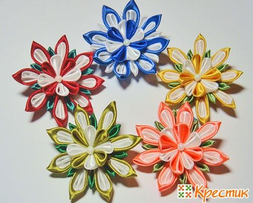 Атласные цветы своими руками канзаши
