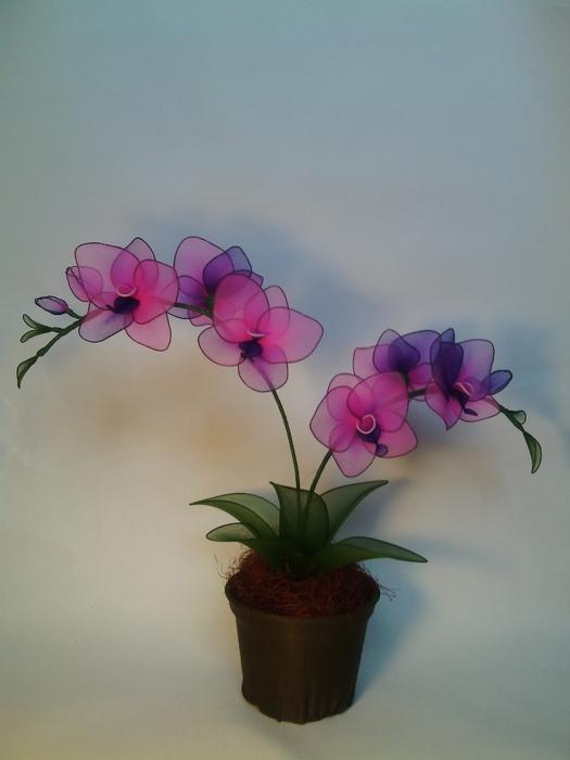 Орхидеи из капрона и проволоки мастер класс поэтапно