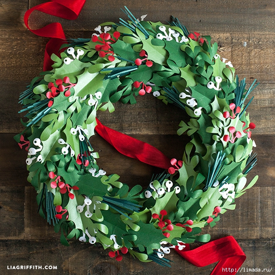 Christmas_Paper_Wreath_DIY (560x560, 350Kb)