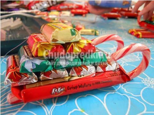 Подарки из конфет для детей своими руками фото