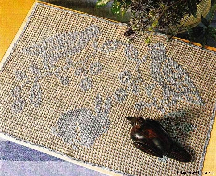 Филейное вязание крючком. Салфетки (7) (700x571, 557Kb)