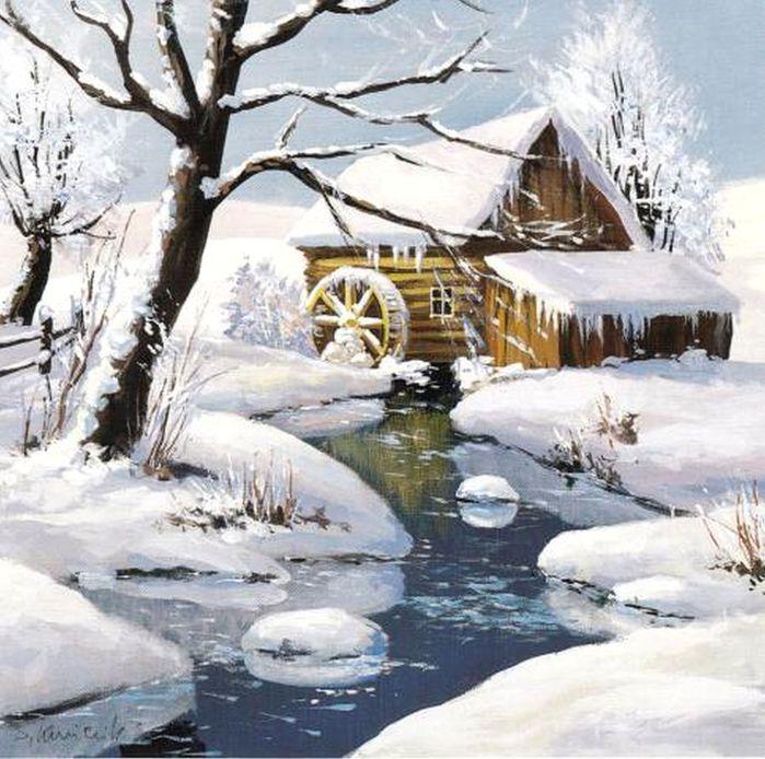 2Winter Mill.Stanislaw Kmiecik (700x694, 96Kb)