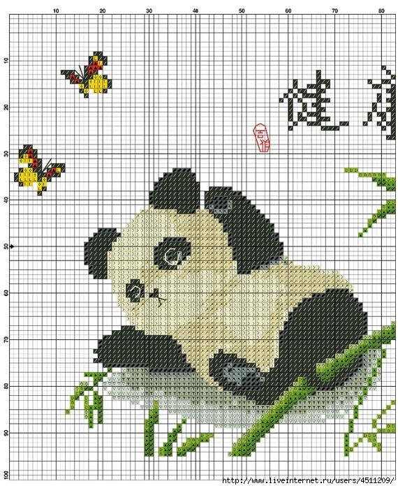 Вышивка крестиком панды 32