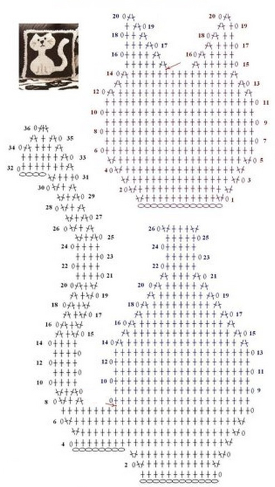 Плед с узором Кошки (2) (395x700, 186Kb)