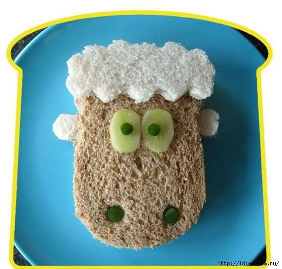 как оформить салат в виде козочки, как оформить салат в виде овечки, как оформить салат в виде барашка, салат овечка, салат барашек. салат козочка, как подать еде на 2015 год, символ 2015 года на праздничном столе, еда для детей в виде овечки, детская еда в виде животных, как красиво подать еду детям Хьюго Пьюго,/1418874913_1252994582_1250103108_sandwich_art_23 (549x525, 152Kb)