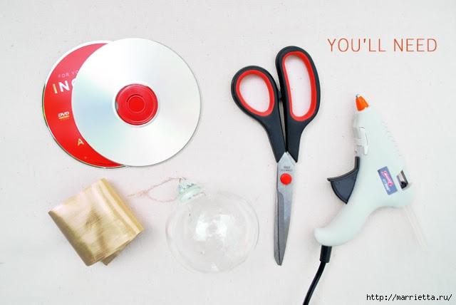Елочные игрушки с мозаикой из CD дисков (1) (640x428, 102Kb)