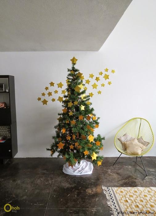Наряжаем новогоднюю елочку золотыми звездами из бумаги (4) (506x700, 237Kb)