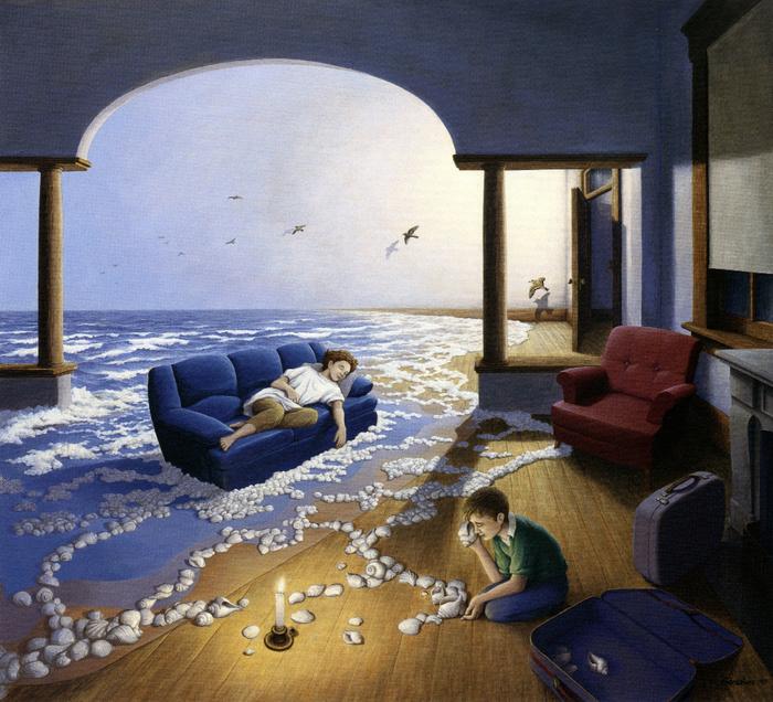 оптические иллюзии художник Роб Гонсалвес картины 3 (700x636, 618Kb)