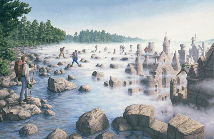 оптические иллюзии художник Роб Гонсалвес картины 10 (700x453, 410Kb)