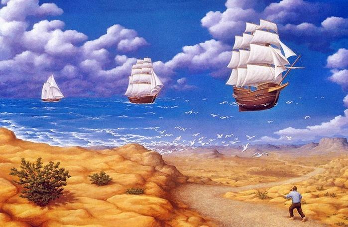 оптические иллюзии художник Роб Гонсалвес картины 14 (700x455, 392Kb)