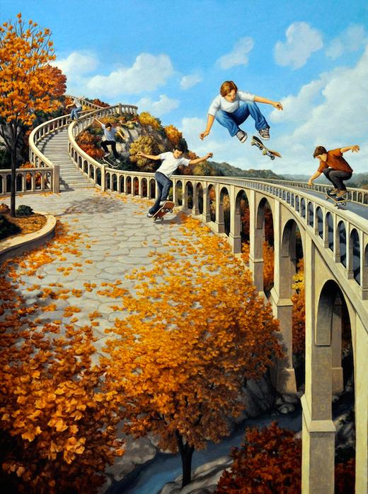 оптические иллюзии художник Роб Гонсалвес картины 16 (520x700, 613Kb)