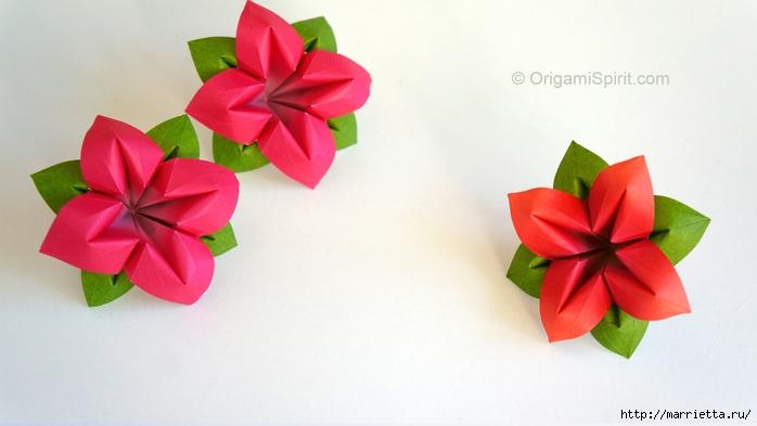 Цветы из бумаги в технике оригами. Видео мастер-класс (1) (700x393, 146Kb)
