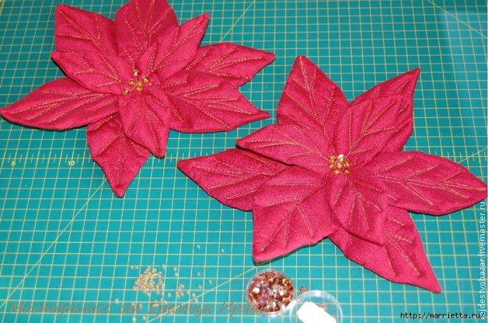 Рождественская пуансеттия из ткани (7) (700x463, 317Kb)