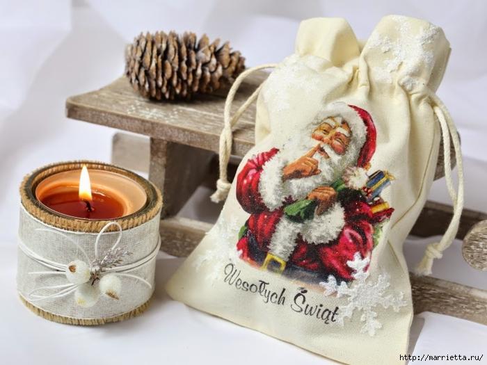 Декупаж на ткани. Мешочек для новогоднего подарка (2) (700x525, 251Kb)