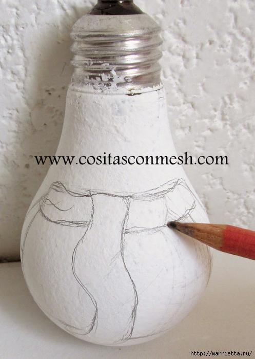 Снеговик из лампочки. Новогодняя роспись по стеклу (9) (497x700, 227Kb)