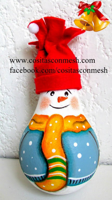 Снеговик из лампочки. Новогодняя роспись по стеклу (23) (393x700, 297Kb)