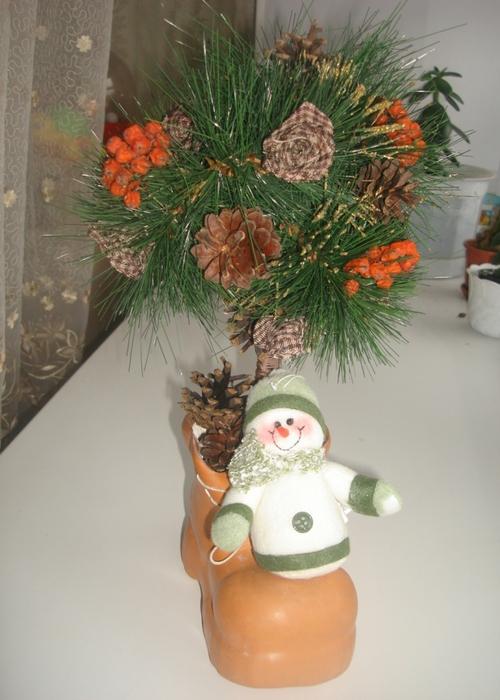 топиарий, рождественское дерево, елочка, мастер-класс, алебастр, снеговик, шишки, рябина/5739675_elochka2 (500x700, 248Kb)