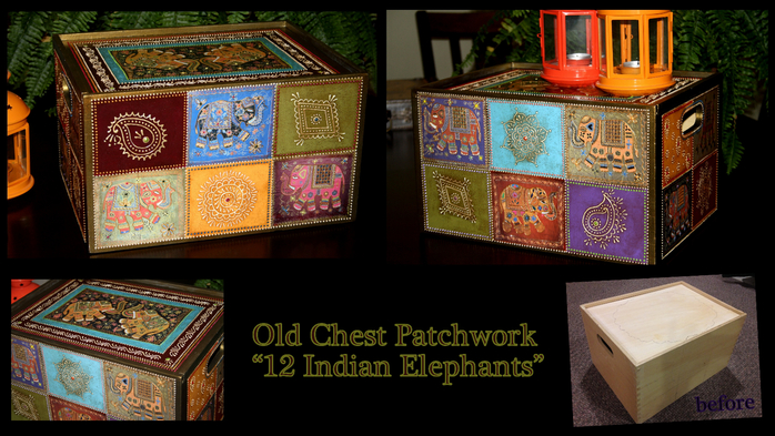 My Craft_Old Chest Patchwork_12 Indian Elephants (700x393, 384Kb)