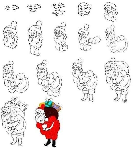 как нарисовать деда мороза4 (544x604, 144Kb)