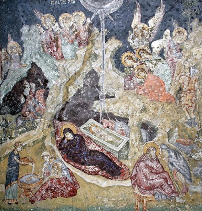Фреска в храме Св.Апостолов в Печском монастыре. Сербия. XIV в. (669x700, 581Kb)