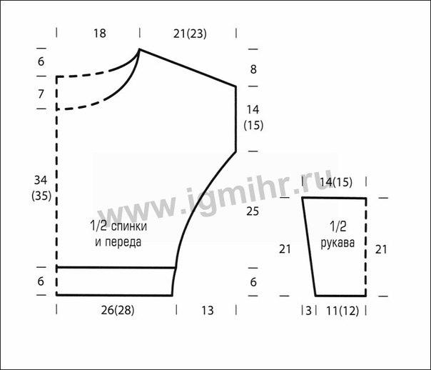 Свободный покрой вязаных кофт схемы