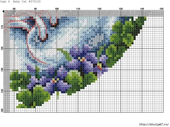 Схема вышивки циферблата с