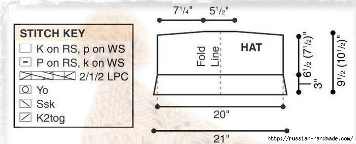 Модная шапочка ШЛЕМ спицами (3) (700x283, 108Kb)