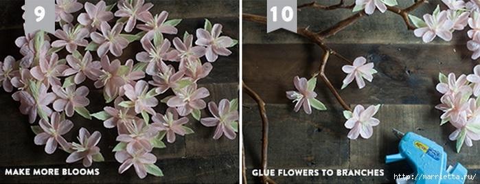 Веточка цветущей вишни из гофрированной бумаги (3) (699x268, 152Kb)