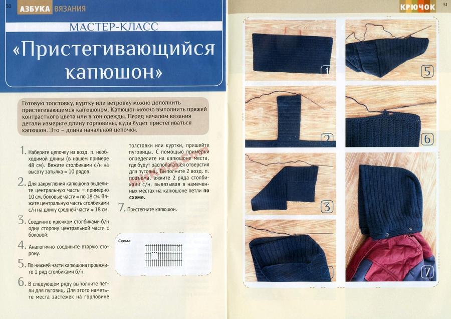 Вязание капюшона крючком описание