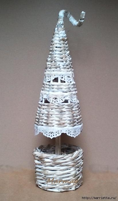 плетение из газет. рождественские идеи (6) (411x700, 194Kb)