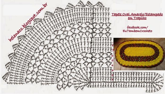 Вязаный коврик крючком схемы