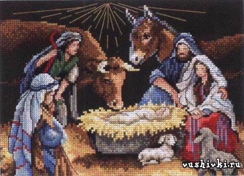 Вышивка крестом рождество христово 63