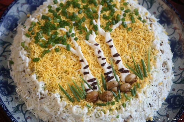 салат березовая роща, как приготовить салат с курицей и шампиньонами, рецепт салата с курицей и шампиньонами,