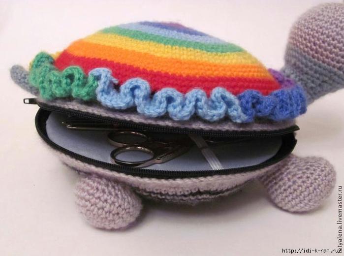 вязаная черепаха, как связать черепаху, схема вязания черепахи, веселый органайзер, необычные органайзеры,