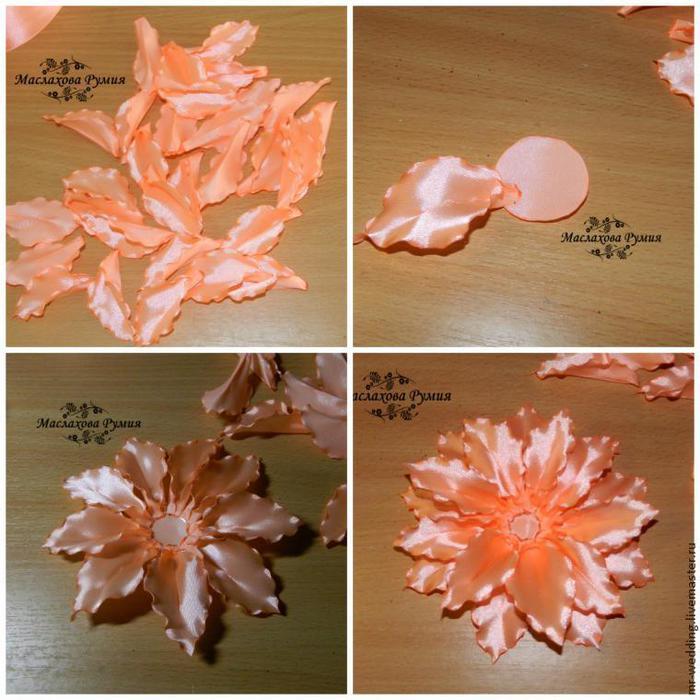 Лилии из лент своими руками пошаговое фото