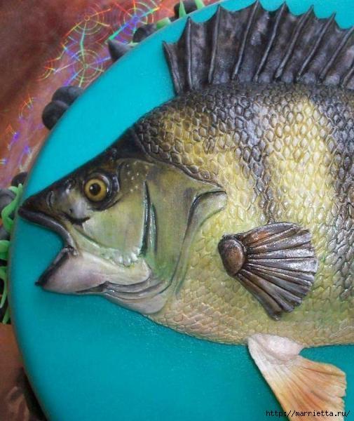 Подарок рыбаку - торт с ОКУНЕМ из мастики (14) (505x600, 170Kb)