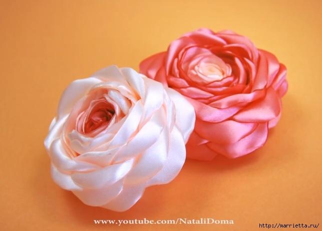 Розы из лент своими руками. Видео мастер-класс (643x463, 116Kb)